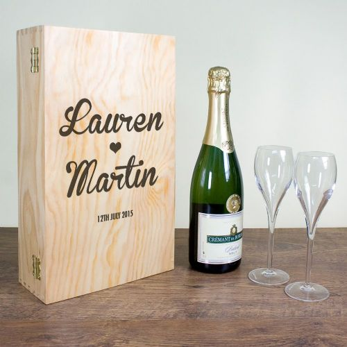 Personalised Couple's Romantic Wine Box Double